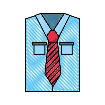Heren shirt met lange mouwen met stropdas vector illustratie grafisch ontwerp