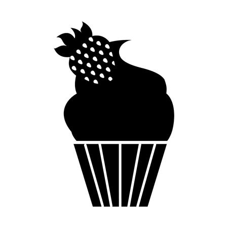 一番上のアイコン ベクトル イラスト グラフィック デザインのイチゴと分離のカップケーキ  イラスト・ベクター素材
