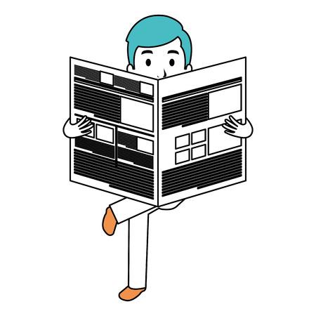 Jonge man lezen krant avatar karakter vector illustratie ontwerp Stock Illustratie