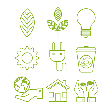 Hand drawn eco friendly designs over white background. Vector illustration.