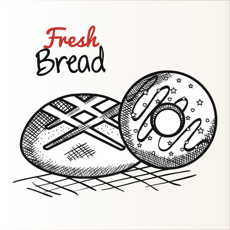 Hand drawn bread and donut over white background. Vector illustration.