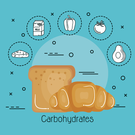 Colorful bread design with food stickers  over teal background. Vector illustration.