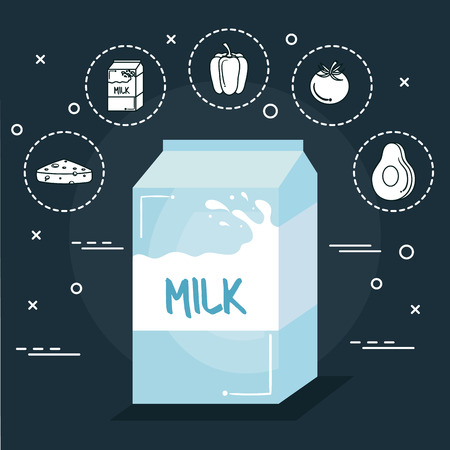 Milk with food stickers over navy blue background. Vector illustration. Çizim
