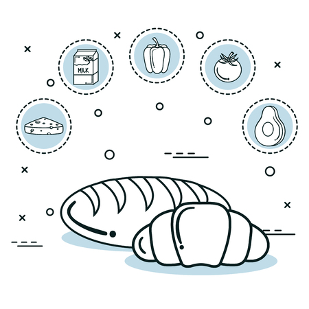 Hand drawn bread loaves and food stickers over white background.