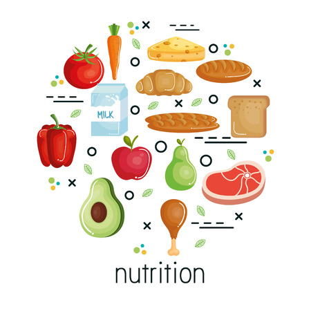 Healthy food design over white background with nutrition sign. Vector illustration.