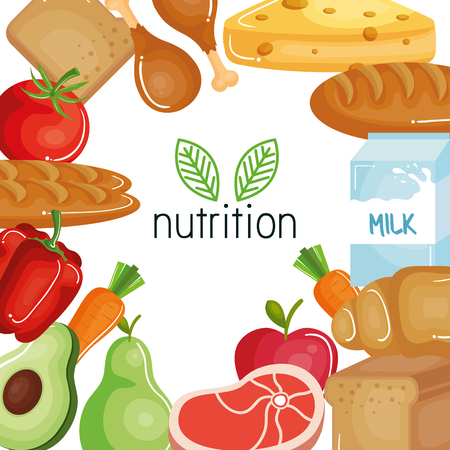 Nutrition sign with hand drawn leaves with food vegetables, fruits, bread, meat and dairies. Vector illustration.