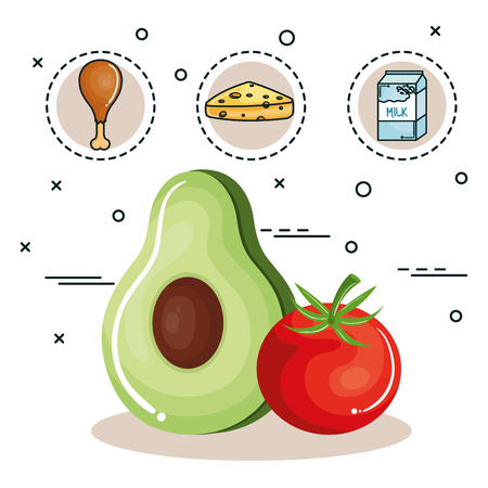 raw chicken: Avocado, tomato, chicken thigh, cheese and milk over white background.  Vector illustration.