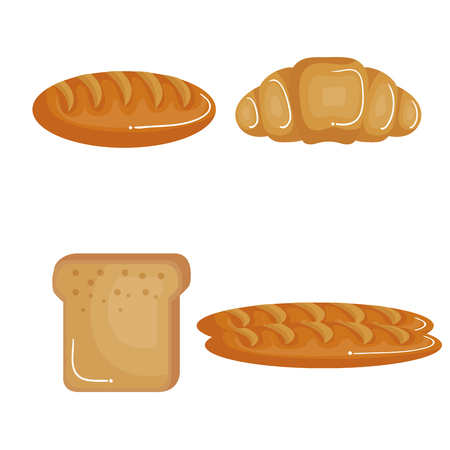 Croissant and bread slice and loaves over white background. Vector illustration.