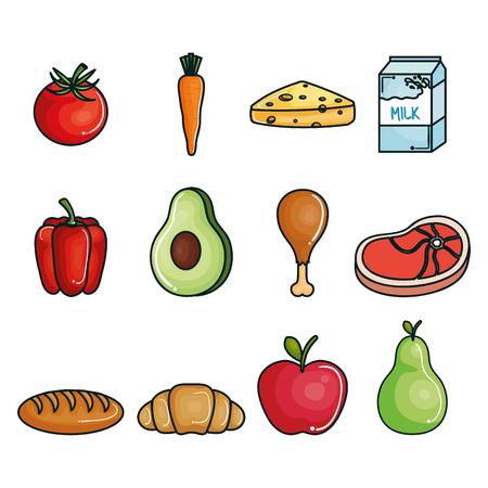 Healthy food set over white background. Vector illustration.