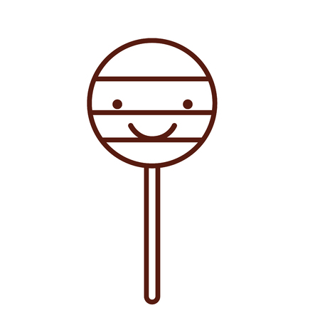 isolated cute lollipop candy on stick vector illustration graphic design