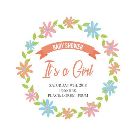 its a girl baby shower related icons image vector illustration design Ilustração