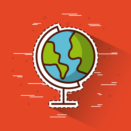 planet earth over red background icon image vector illustration design