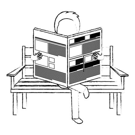 Homme, lecture, journal, dans, les, parc, chaise, vecteur, illustration, conception Banque d'images - 78352614