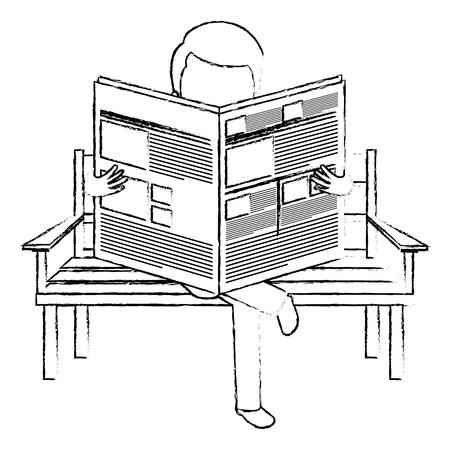 man reading newspaper in the park chair vector illustration design Illustration