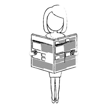 jong de avatar van de vrouwenlezing vector de illustratieontwerp van het karakter