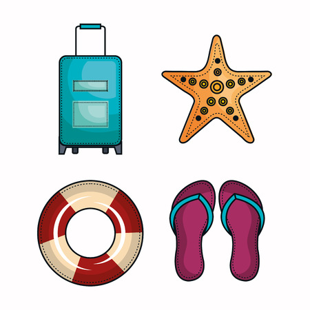 Suitcase, starfish, lifesaver and flip flops over white background. Vector illustration. Illustration