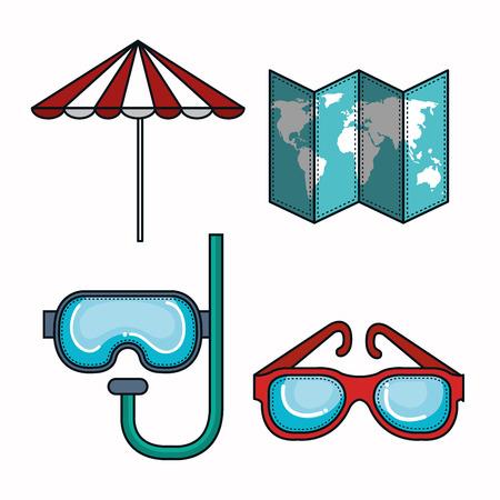 우산,지도, 스노 클 및 흰색 배경 위에 안경. 벡터 일러스트 레이 션.