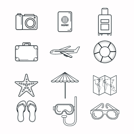 Hand drawn objects related to vacations on the bach over white background.