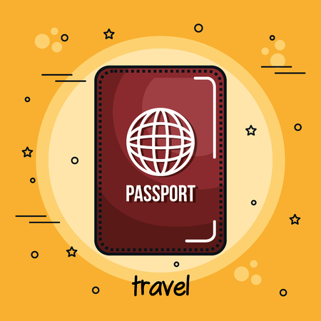 Passport and travel sign over yellow background. Vector illustration.