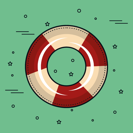 Red and white lifesaver over teal background. Vector illustration.