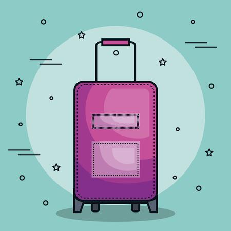 Purple suitcase over teal background. Vector illustration. Иллюстрация