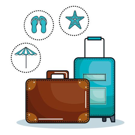 白い背景の上ビーチに関連するオブジェクトのスーツケース。ベクトルの図。