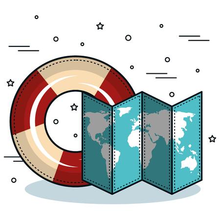 Lifesaver and map over white background. Vector illustration. Illustration