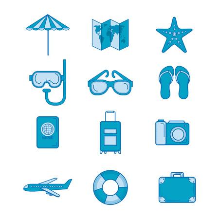 旅行に関連する青いオブジェクトのセットです。ベクトルの図。 写真素材 - 78352696