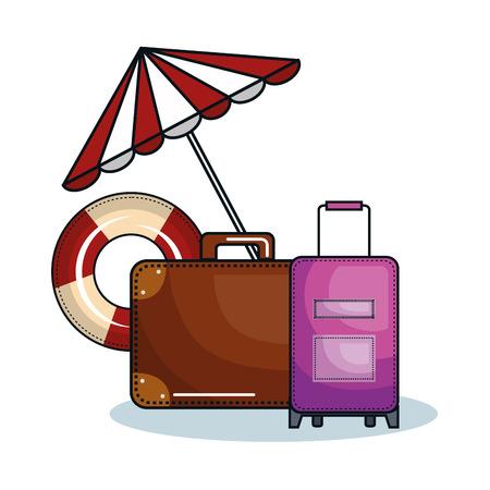 Suitcases, umbrella and lifesaver over white background. Vector illustration. Illustration