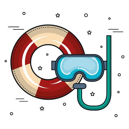 Lifesaver en snorkel over witte achtergrond. Vector illustratie. Stock Illustratie