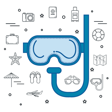 Blue snorkel with hand drawn objects related to beach over white background. Vector illustration.
