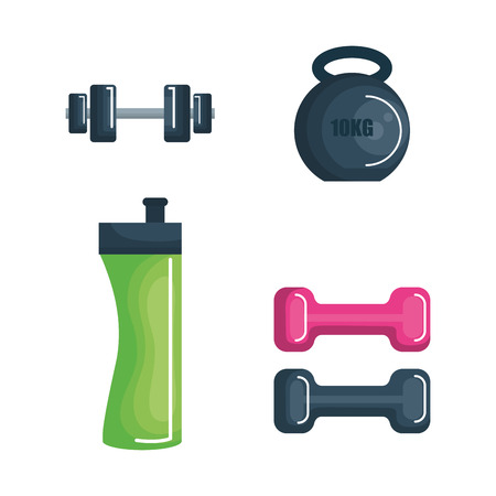 Exercising related objects over white background. Vector illustration. Stock Vector - 78353177
