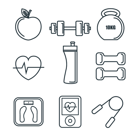 Exercising related objects over white background. Vector illustration.