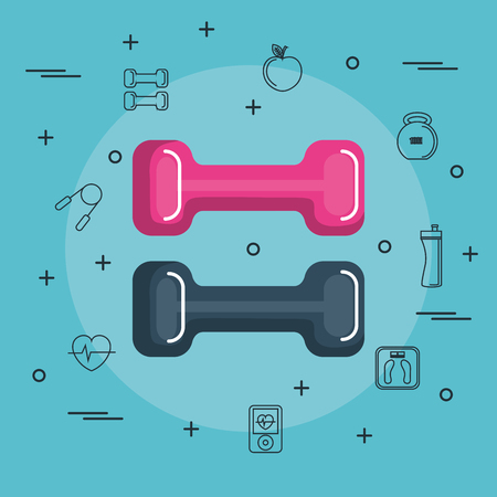 Colorful dumbbells with hand drawn objects related to exercising over blue background. Vector illustration.