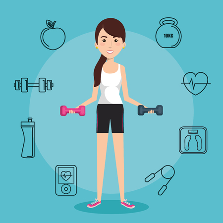 Woman holding dumbbells with hand drawn objects related to exercising over blue background. Vector illustration. Ilustração