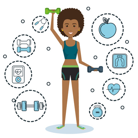 Exercising afro american holding dumbbells surrounded by related objects icons over white background. Vector illustration. Ilustração