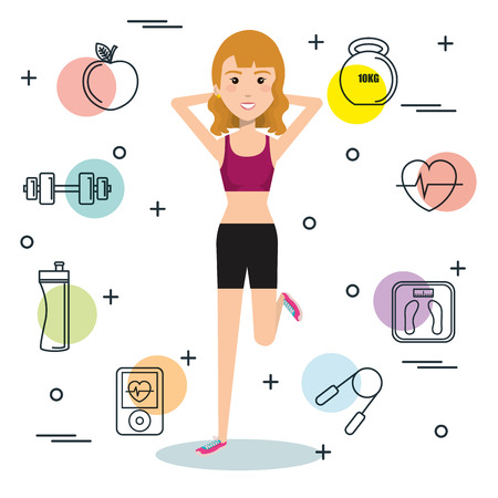 gym equipment: Exercising blonde woman surrounded by hand drawn related objects over white background. Vector illustration.