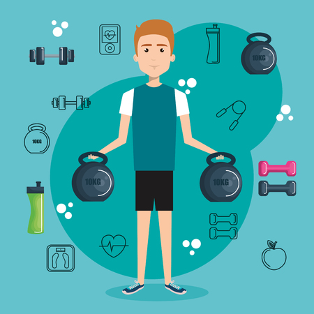 Exercising man holding kettleballs surrounded by related objects over teal background. Vector illustration.