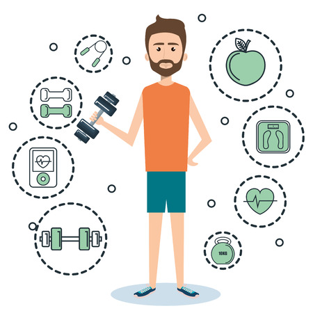Exercising man holding a dumbbell surrounded by related object stickers over white background. Vector illustration. Ilustração