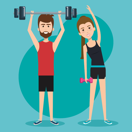 gym equipment: Man holding barbell and woman holding dumbbel over teal background. Vector illustration. Illustration