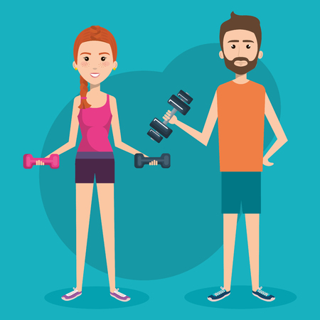 gym equipment: Exercising people holding dumbbells over teal background. Vector illustration. Illustration