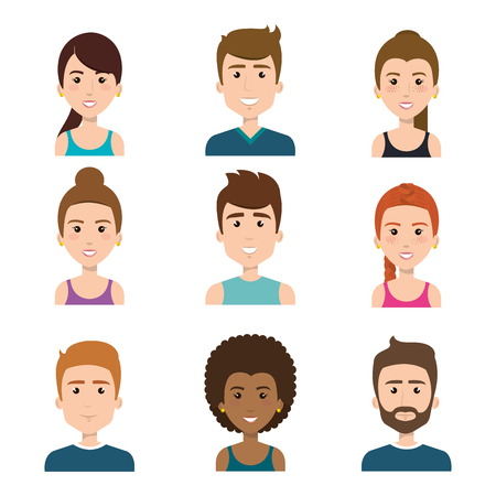 Smiling people over white background. Vector illustration.