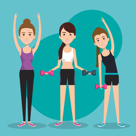 gym equipment: Exercising women with dumbbells over teal background. Vector illustration.