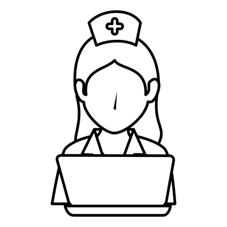medical technology: woman nurse with laptop avatar character vector illustration design