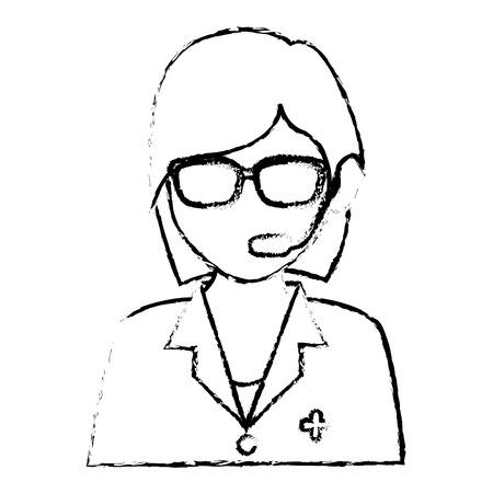 Medical call center agent vector illustration design