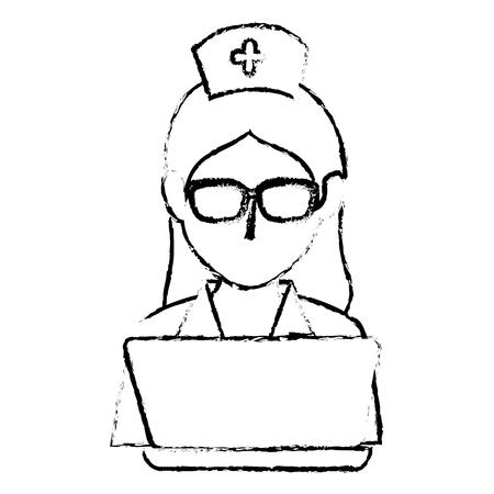 woman nurse with laptop avatar character vector illustration design