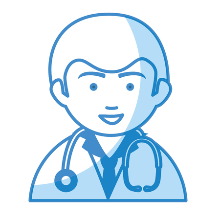 mature adult: Male doctor avatar character vector illustration design