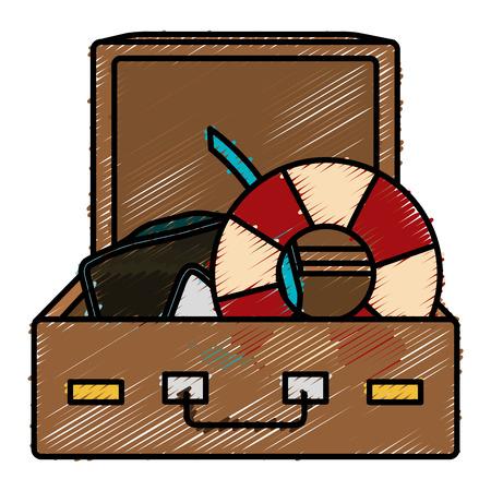 koffer reizen met snorkel en float vector illustratie ontwerp