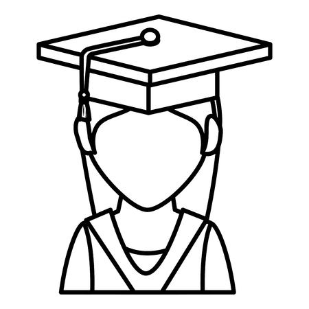 Tudiant diplômé isolé icône illustration d'illustration vectorielle Banque d'images - 78358772