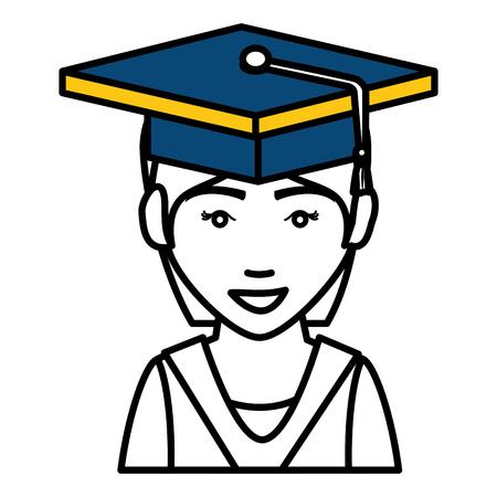 Tudiant diplômé isolé icône illustration d'illustration vectorielle Banque d'images - 78358768